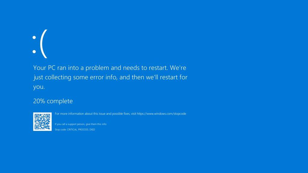 A Microsoft Windows blue screen, also known as a blue screen of death.