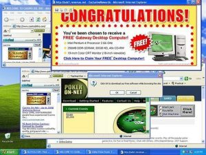 A computer desktop cluttered with suspicious ads