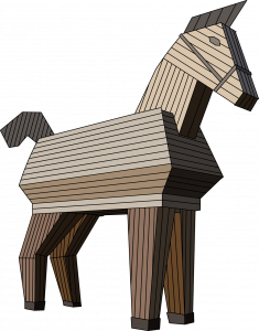 A wooden trojan horse