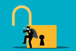 A criminal sneaks past an open lock with a swag bag full of your data